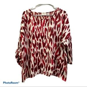 Chico's red cheetah print blouse